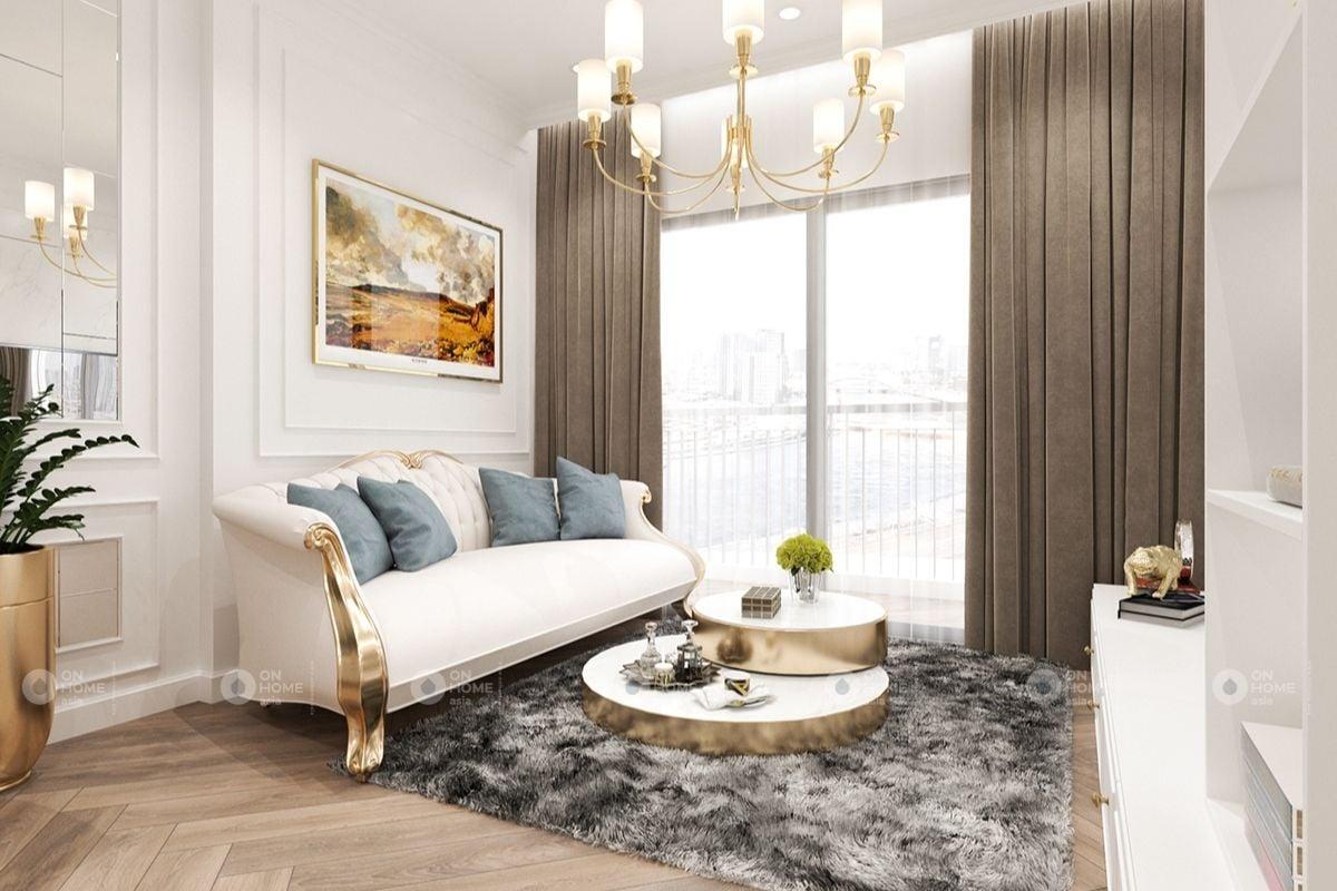 Không gian phòng khách tân cổ điển màu trắng