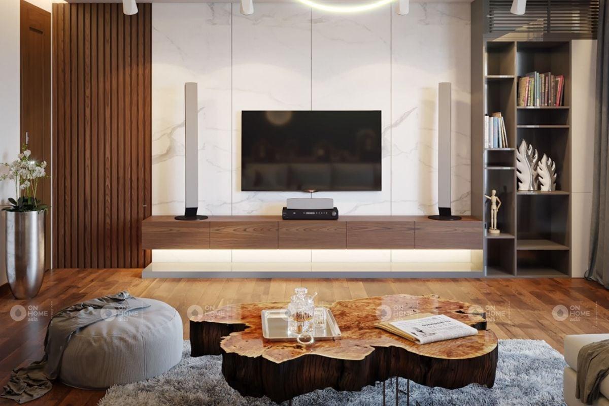 Trang trí tường phòng khách bằng kệ tivi