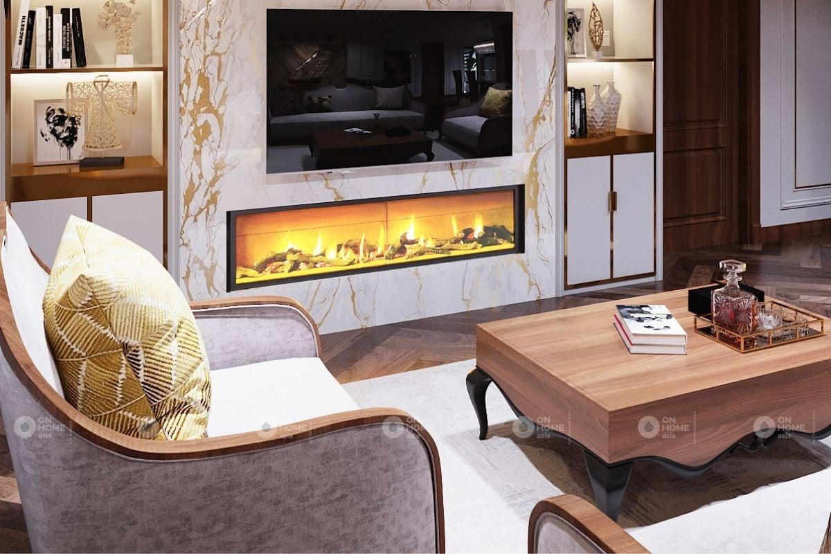 Nội thất phòng khách thiết kế theo phong cách tân cổ điển