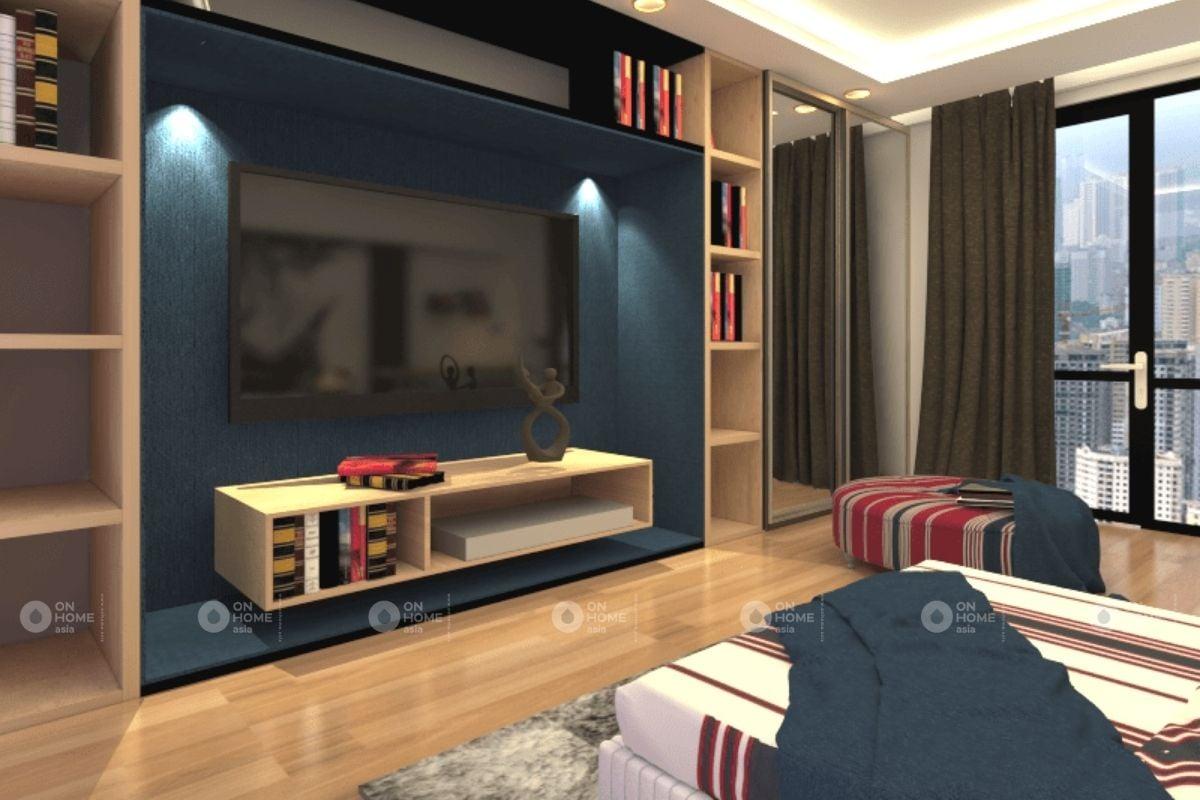 Cách bố trí kệ tivi trang trí cho phòng khách bằng gỗ công nghiệp