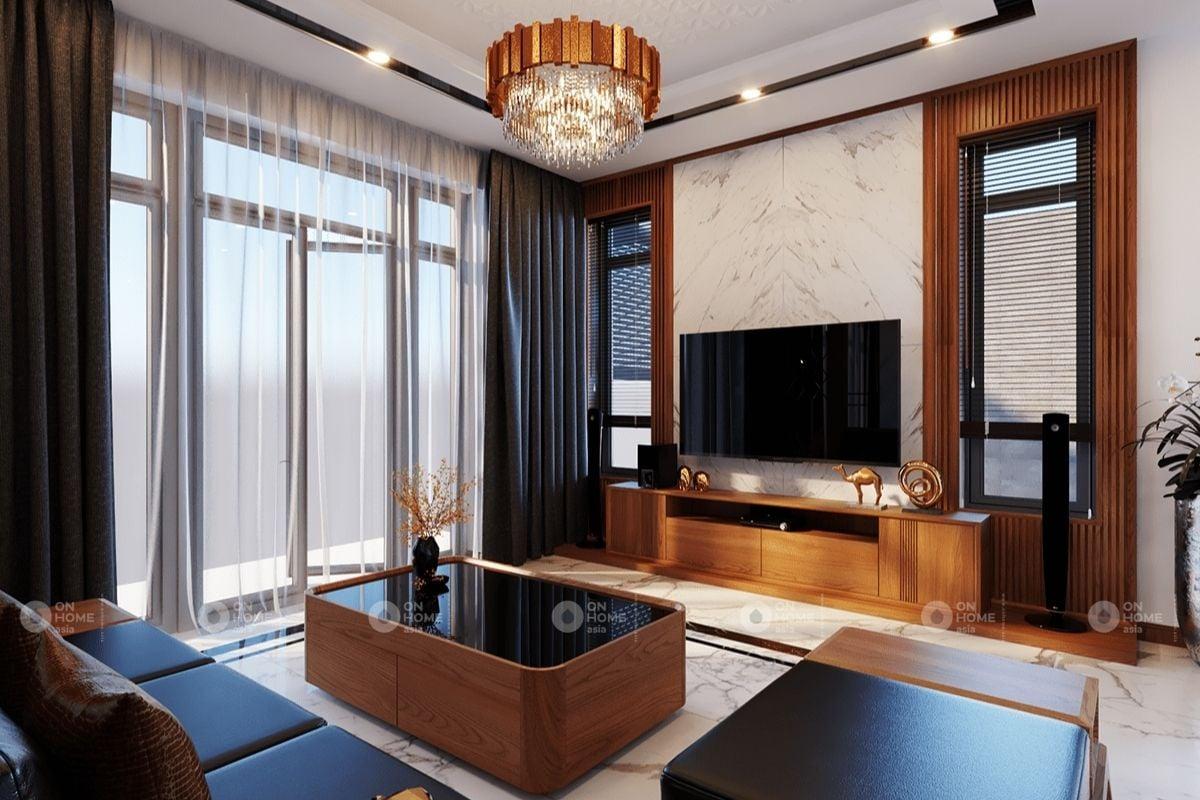Phòng khách nhà phố có nội thất hiện đại