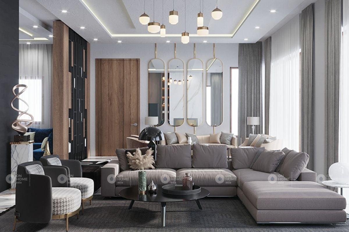Nội thất hiện đại được thiết kế cho phòng khách nhà ống