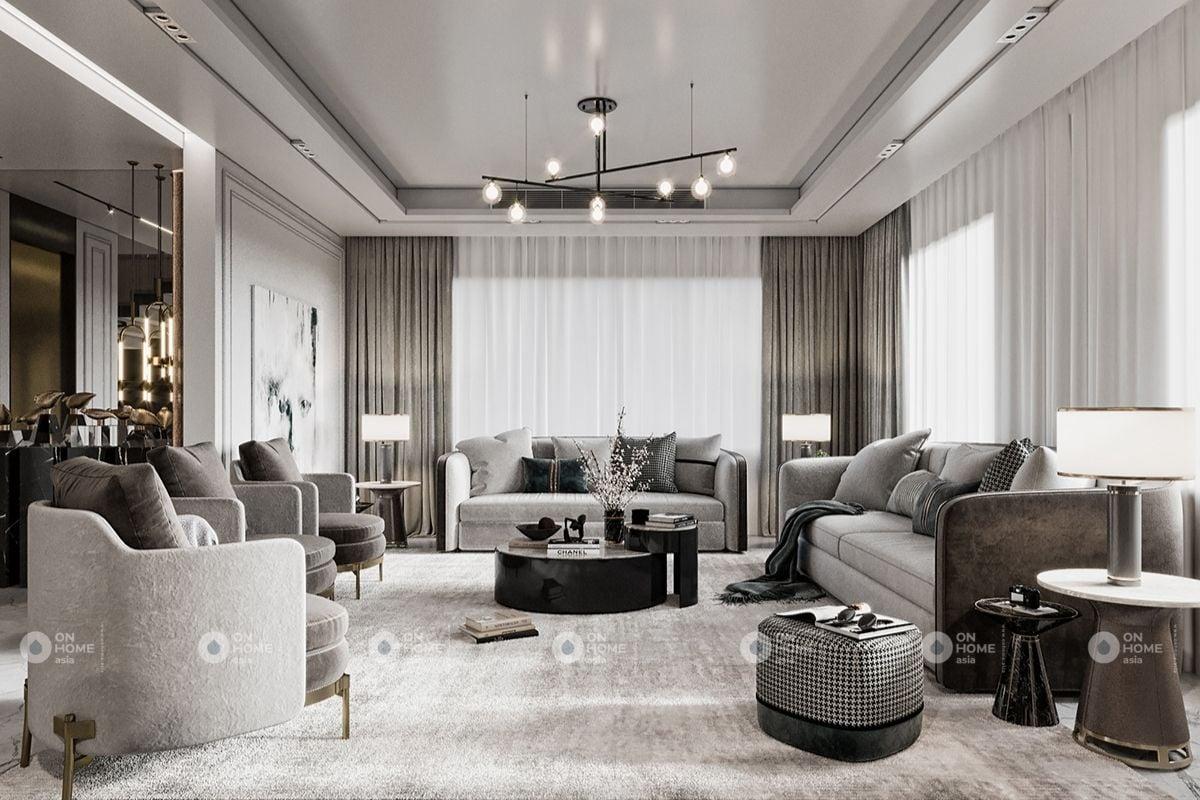 Nội thất ánh kim dành cho phòng khách