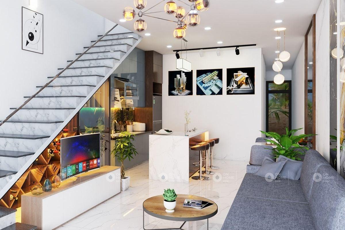Phòng khách nhà phố có cầu thang hiện đại