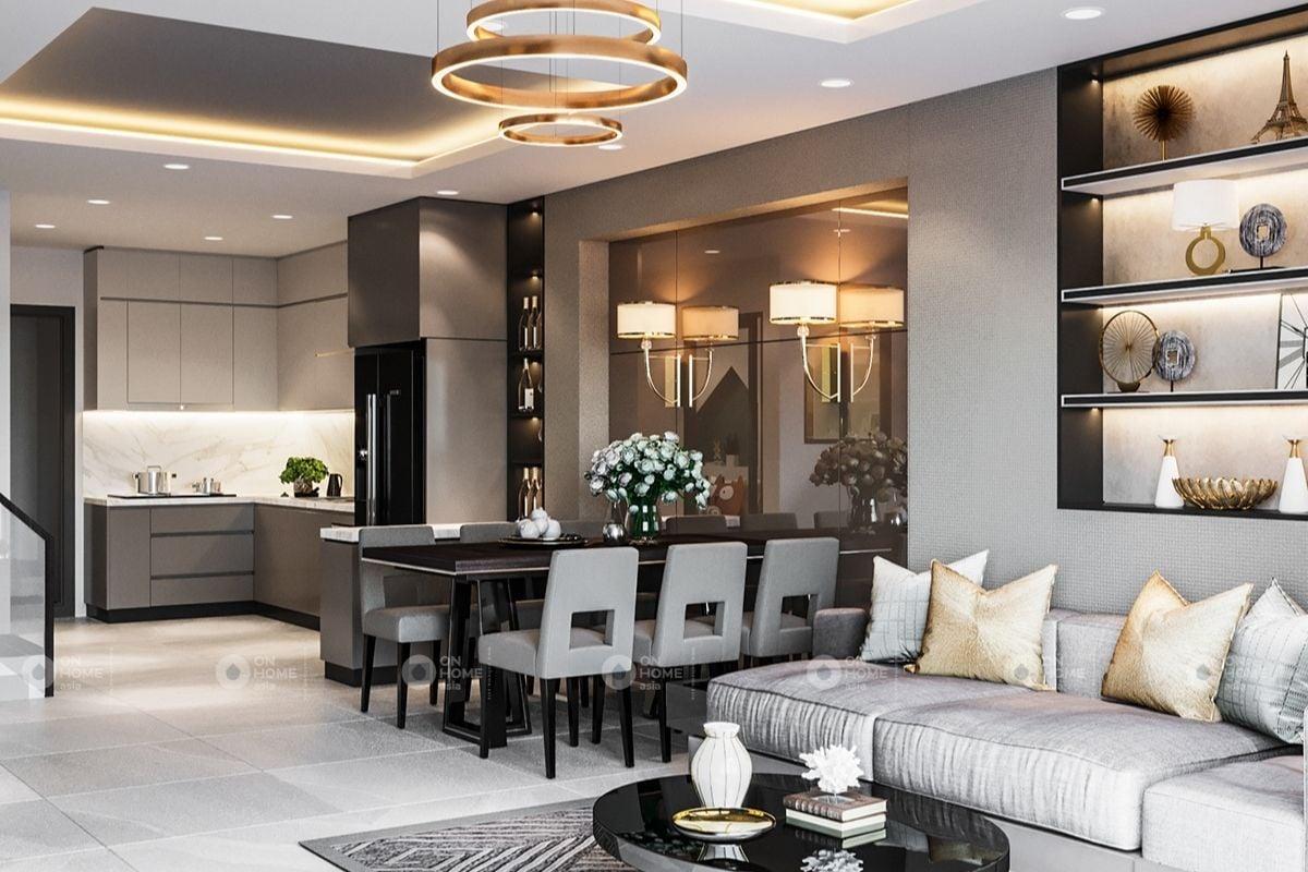 Không gian phòng khách nhà ống đẹp được thiết kế theo phong cách Bắc Âu