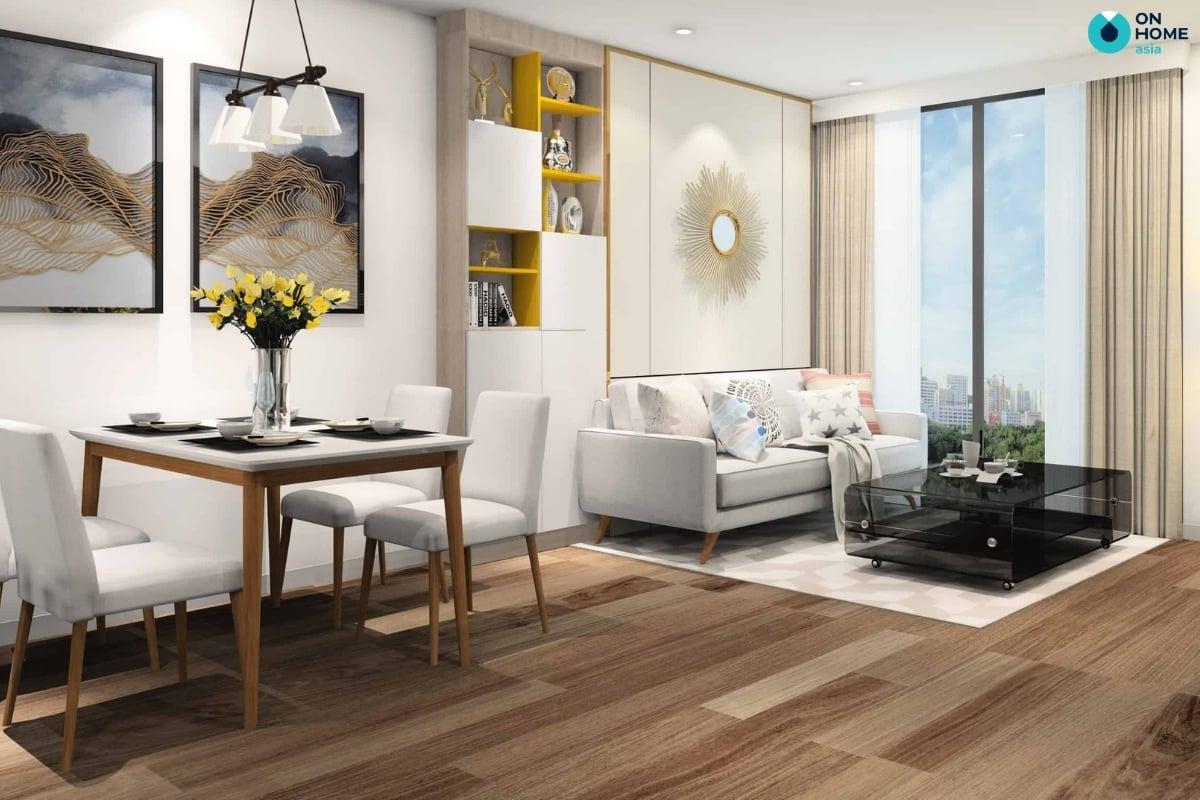 Gương trang trí tường phòng khách tăng hiệu ứng chiều sâu