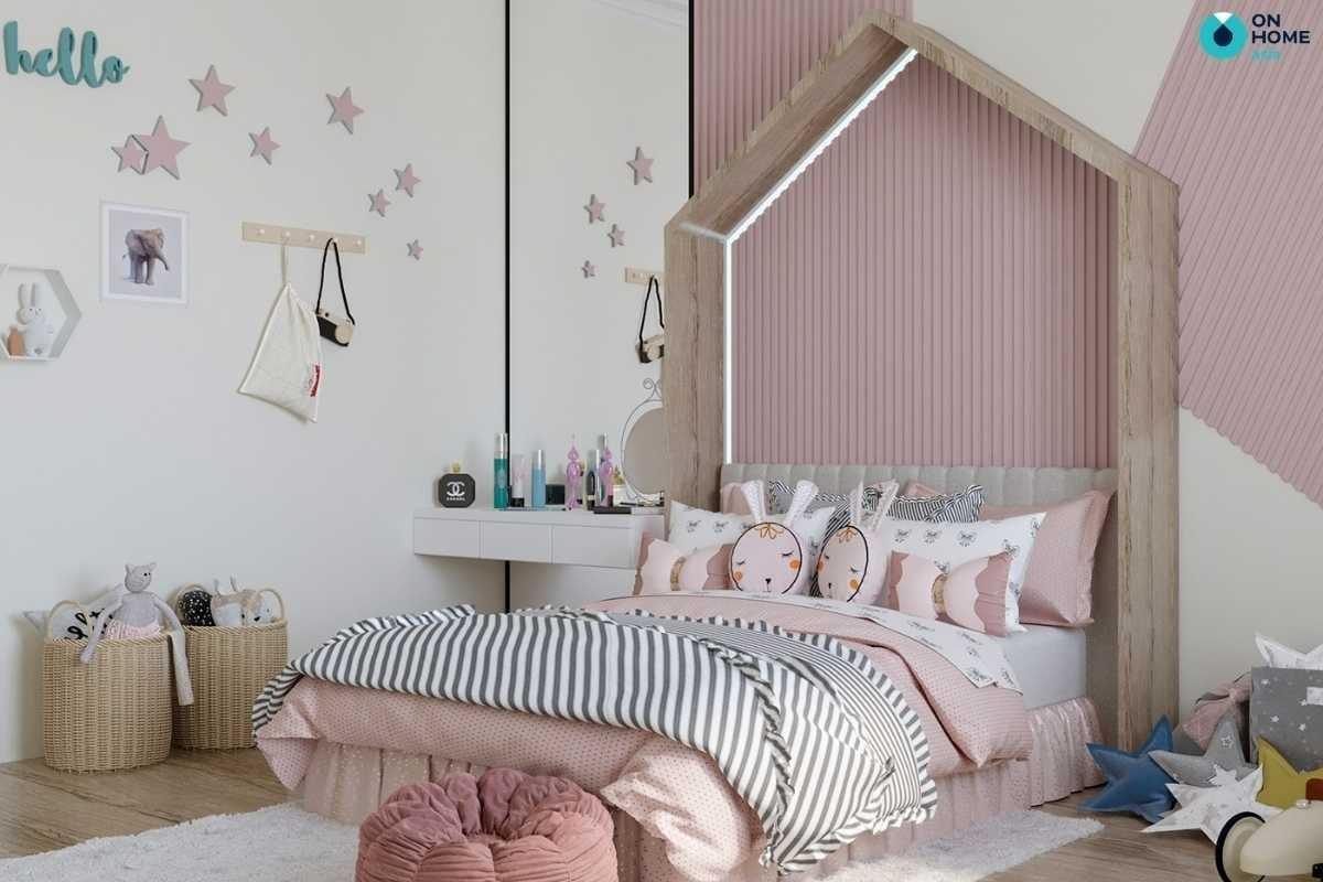 Nội thất phòng ngủ cho bé trắng hồng