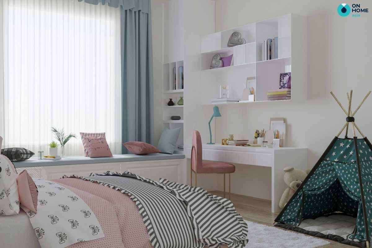 Phòng ngủ bé gái trắng hồng