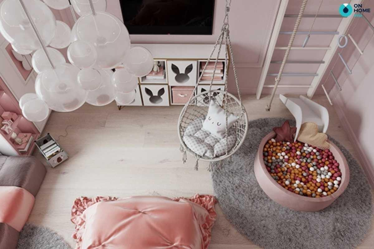 Nội thất phòng ngủ bé gái sang trọng màu hồng