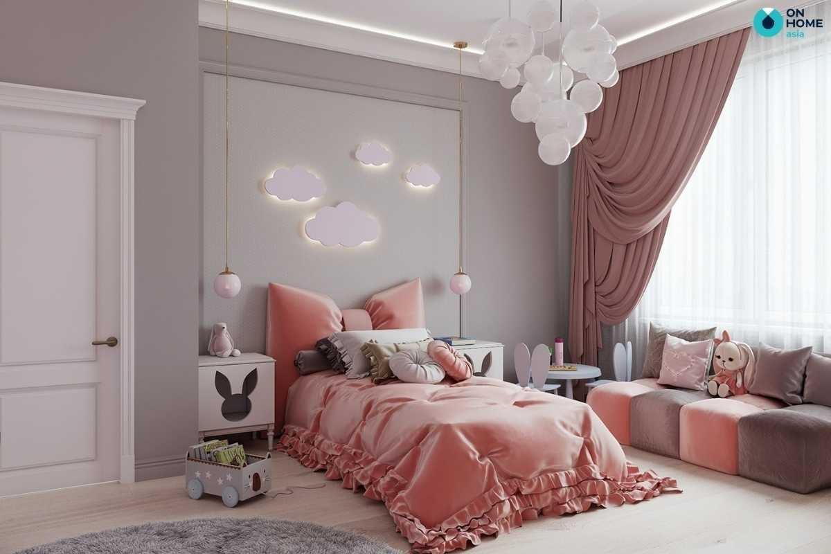 Phòng ngủ bé gái sang trọng màu hồng