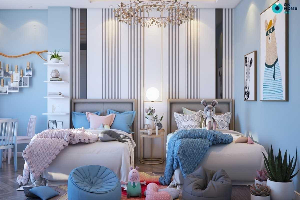 Nội thất phòng ngủ bé gái màu xanh nhẹ nhàng