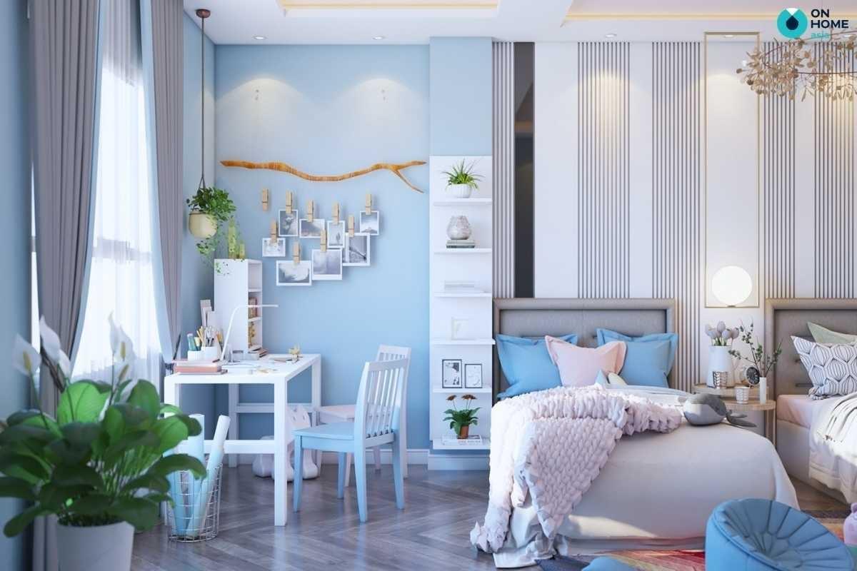 Phòng ngủ bé gái màu xanh nhẹ nhàng