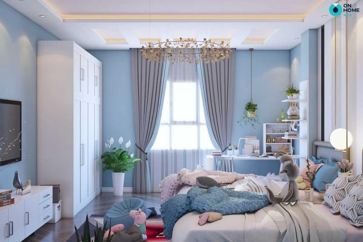 Phòng ngủ đẹp cho bé gái màu xanh