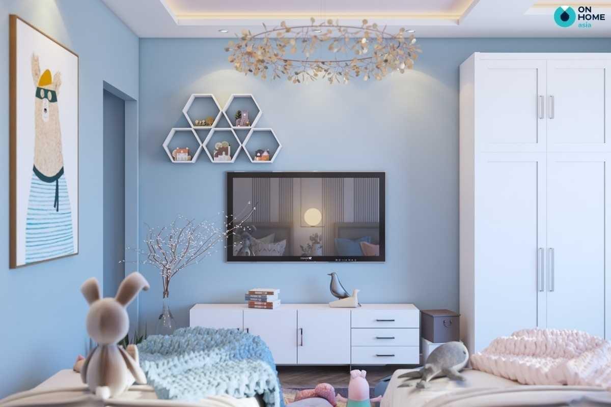 Thiết kế phòng ngủ bé gái màu xanh