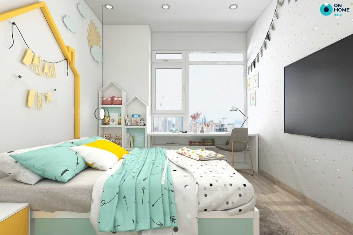 Phòng ngủ cho bé gái hiện đại tươi sáng