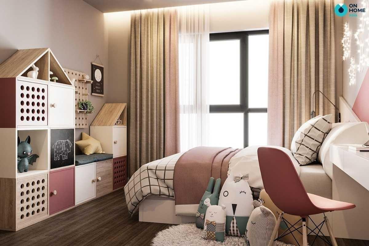 Phòng ngủ trẻ em màu hồng tươi sáng