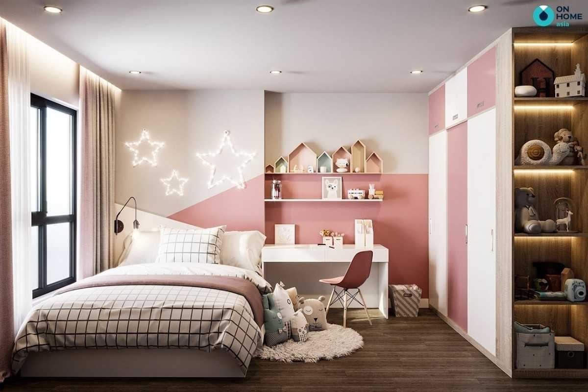 Phòng ngủ bé gái tươi sáng