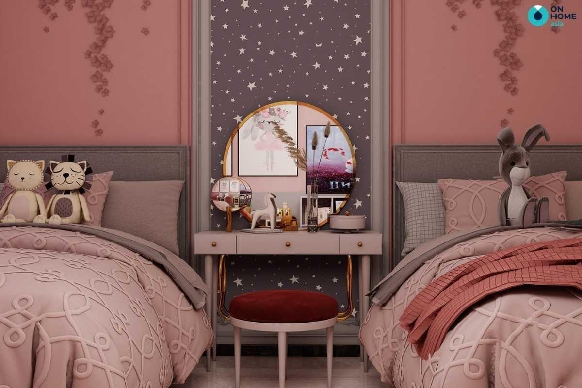 Phòng ngủ cho bé gái sinh đôi