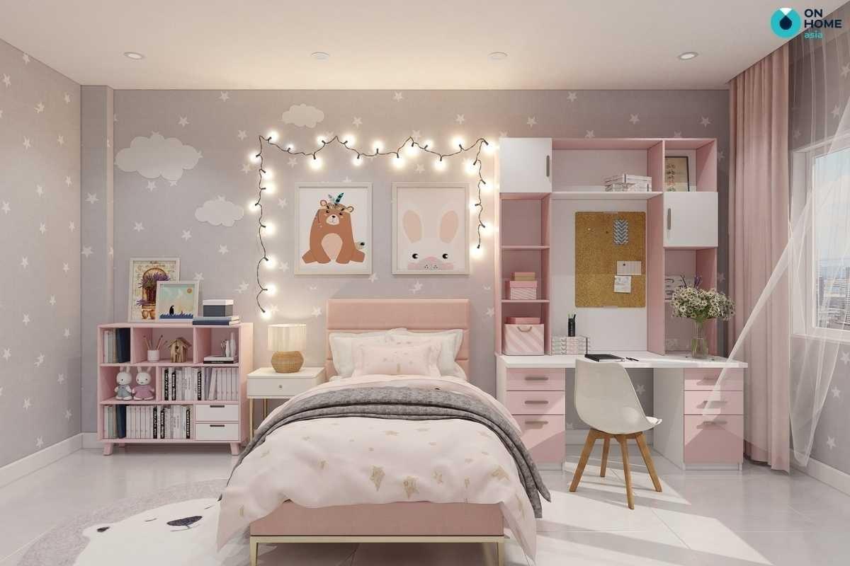 Nội thất phòng ngủ cho bé gái màu hồng
