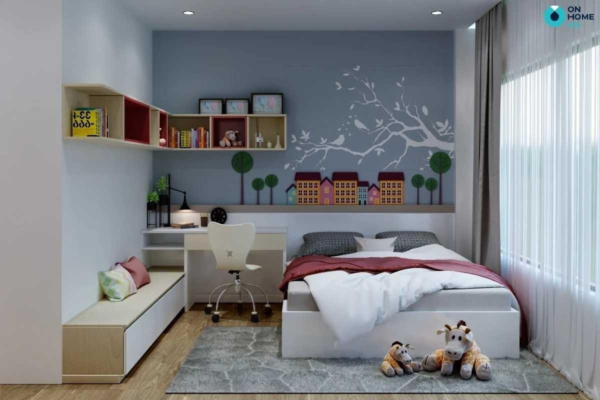 Phòng ngủ bé gái đa sắc màu