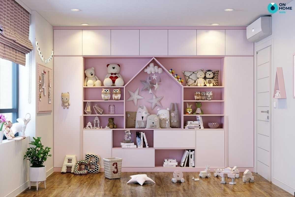 Nội thất phòng ngủ bé gái màu hồng dễ thương