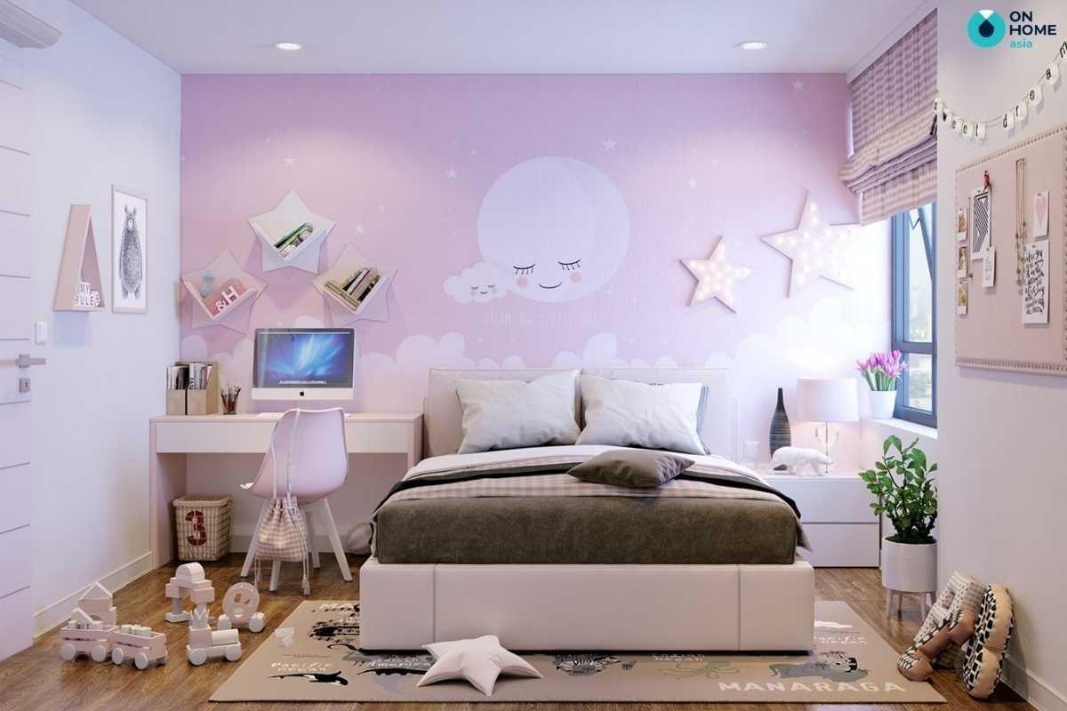 Phòng ngủ trẻ em màu hồng dễ thương
