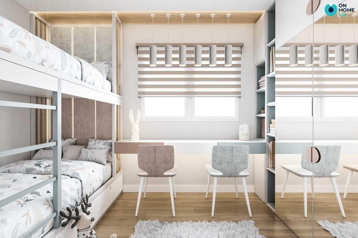 Thiết kế phòng ngủ bé gái giường tầng