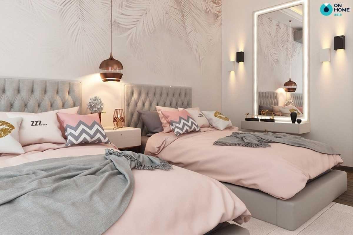 Phòng ngủ bé gái màu hồng giường đôi