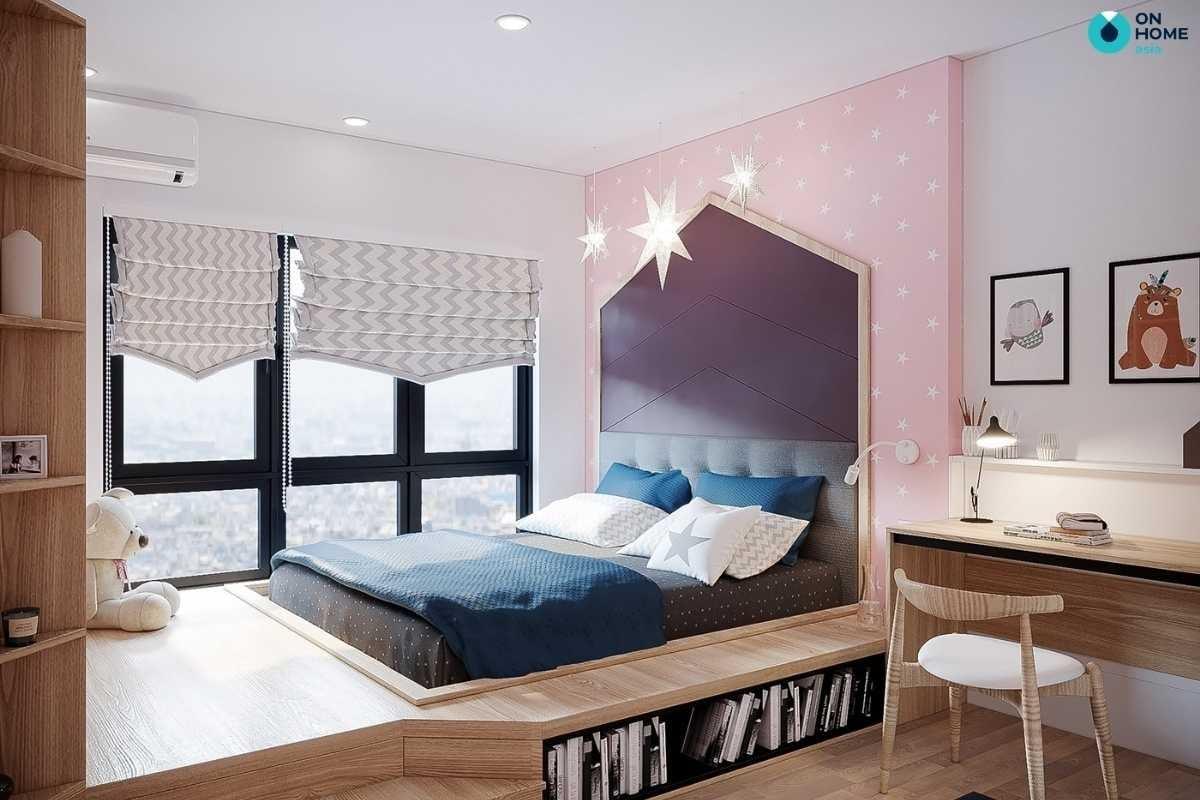 Phòng ngủ bé gái chất liệu gỗ tự nhiên