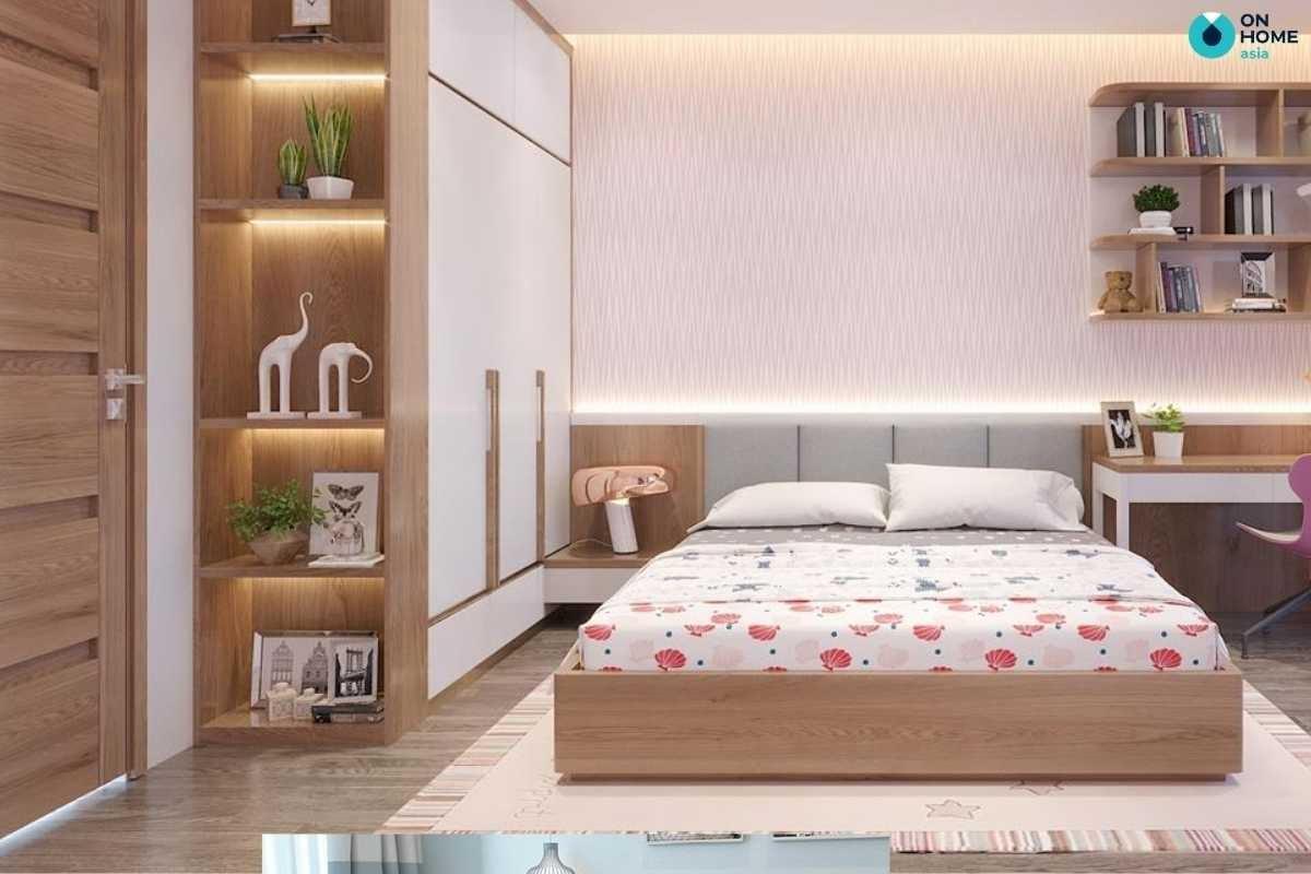 Phòng ngủ bé gái với chất liệu gỗ