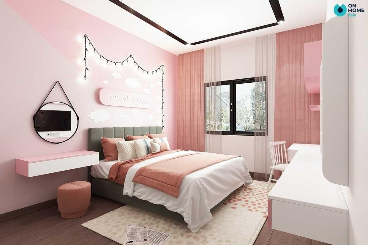 Phòng ngủ cho bé gái màu hông