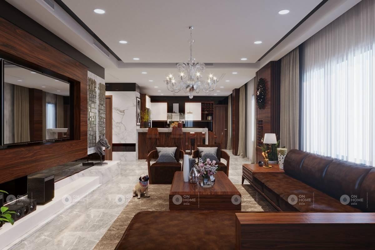Phối cảnh nội thất phòng khách biệt thự đẹp