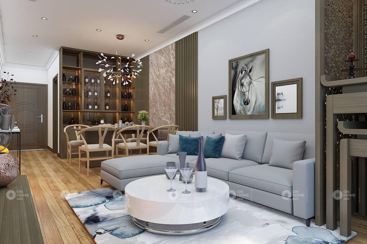 Phối cảnh nội thất tối giản cho phòng khách chung cư