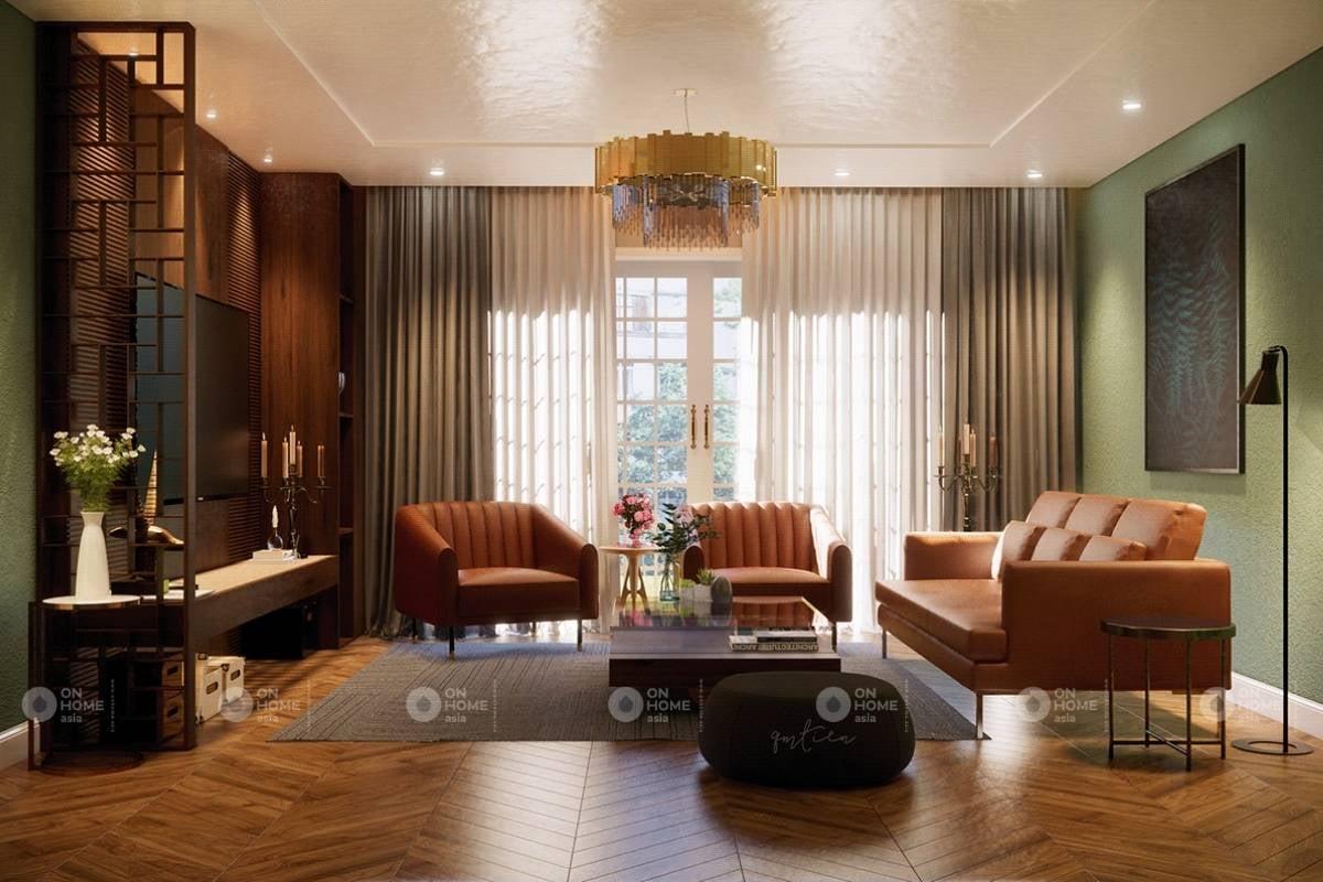 Không gian phòng khách theo gam màu trầm ấm