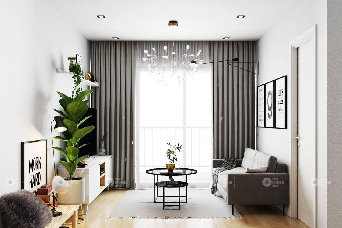 Phối cảnh không gian phòng khách nội thất đẹp