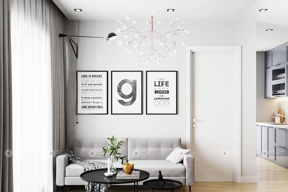 Tranh treo phòng khách chung cư được phối cảnh hợp lý