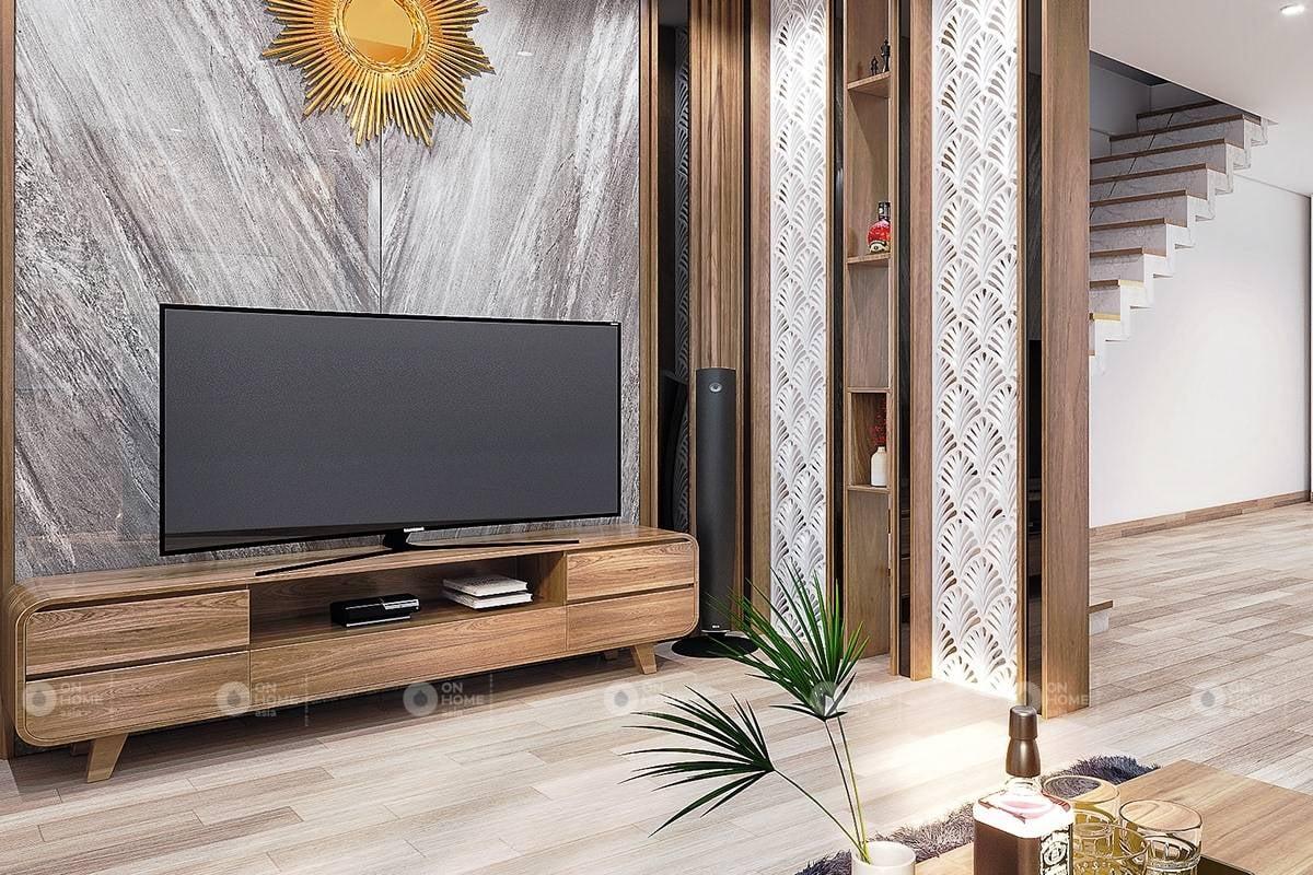 Kệ tivi phòng khách nhà phố đẹp bằng gỗ