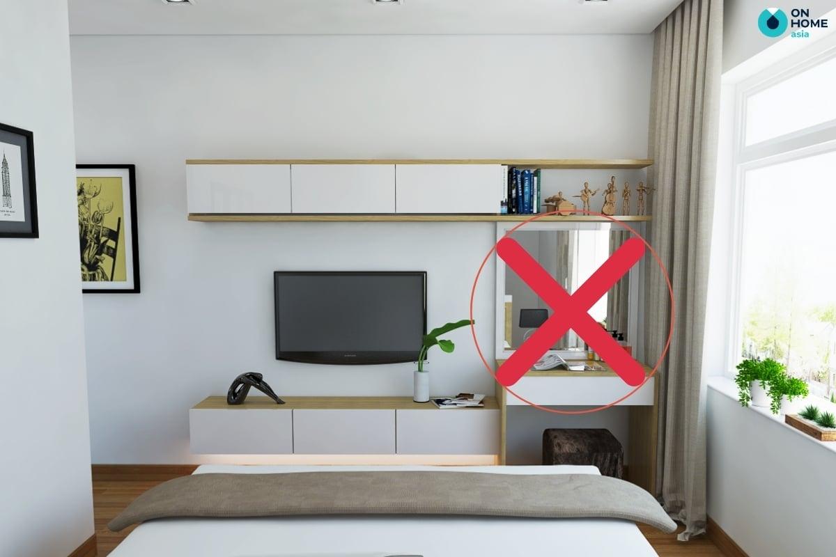 Không nên đặt gương đối diện chân giường ngủ