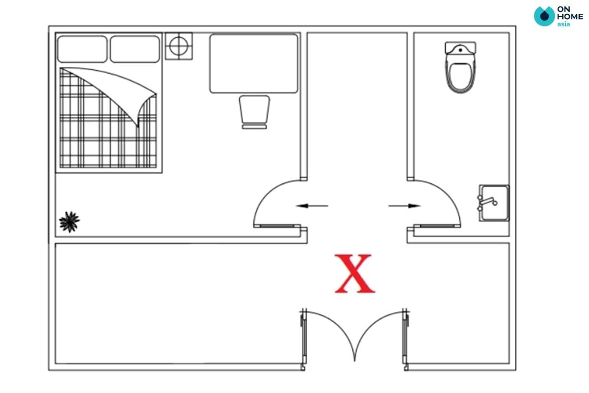 Cửa phòng ngủ không nên đặt đối diện cửa nhà vệ sinh