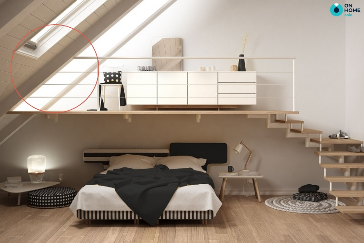 Không đặt giường ngủ dưới trần nhà nghiêng