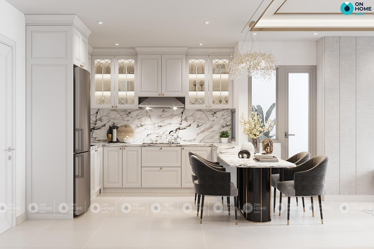 Bản vẽ phối cảnh 3D nội thất thất phòng bếp