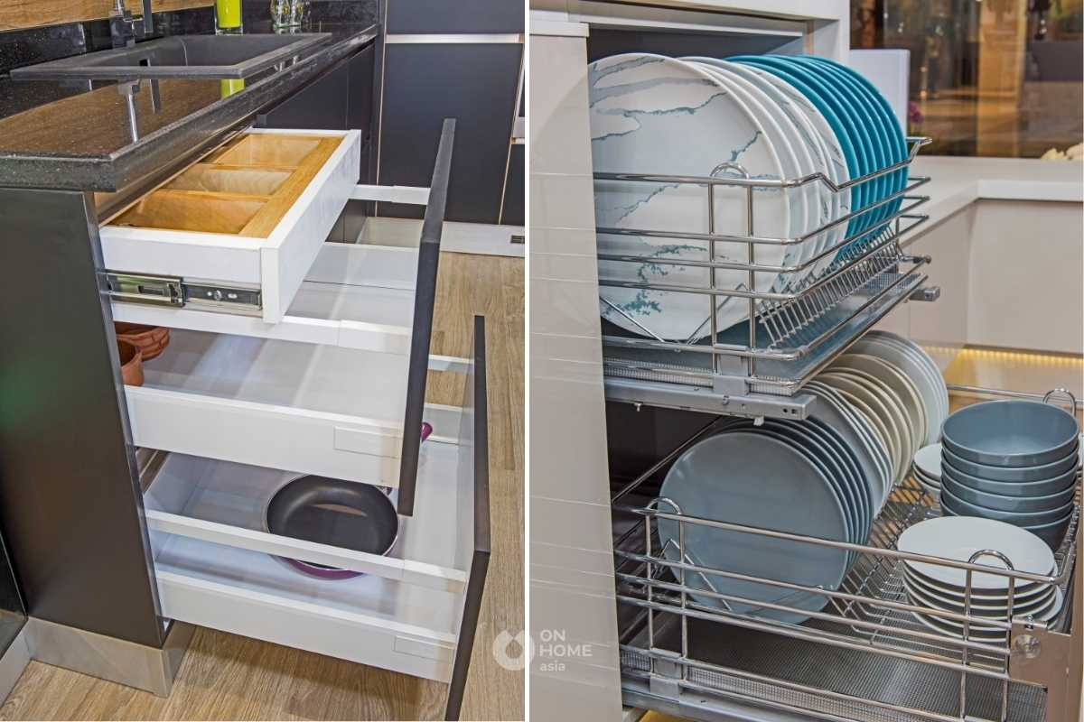 Học tủ có ngăn kéo riêng cho không gian bếp.
