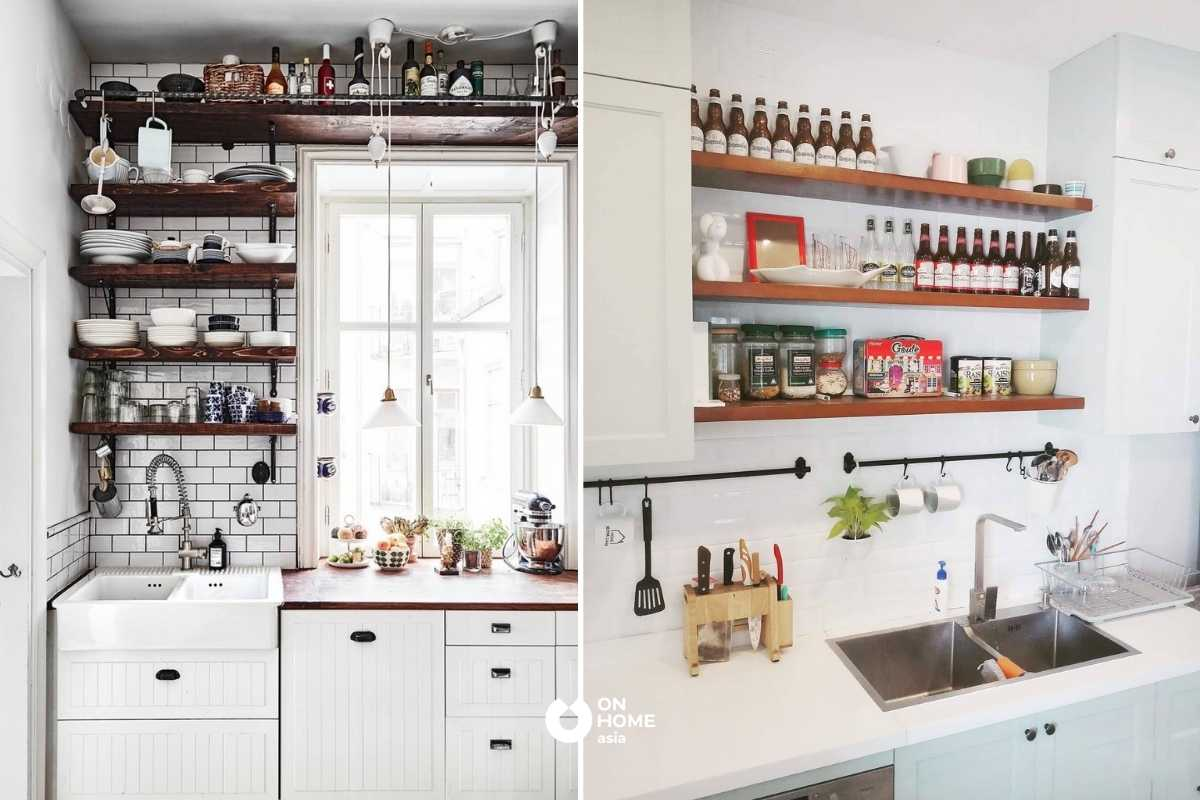 Khu vực để đồ dùng trong phòng bếp.