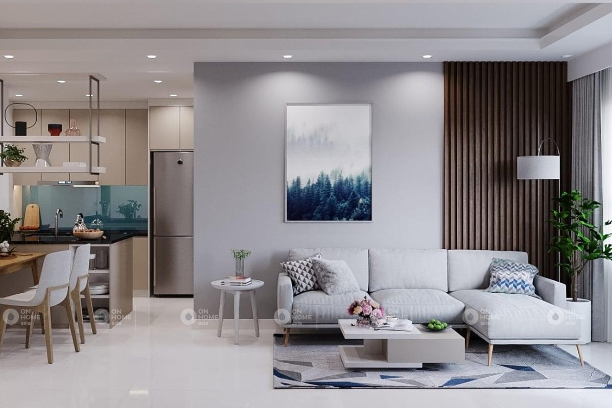 Thiết kế phòng khách nối liền phòng bếp