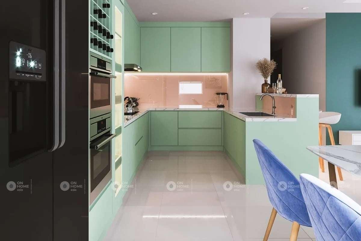 Nội thất phòng bếp với gam màu pastel