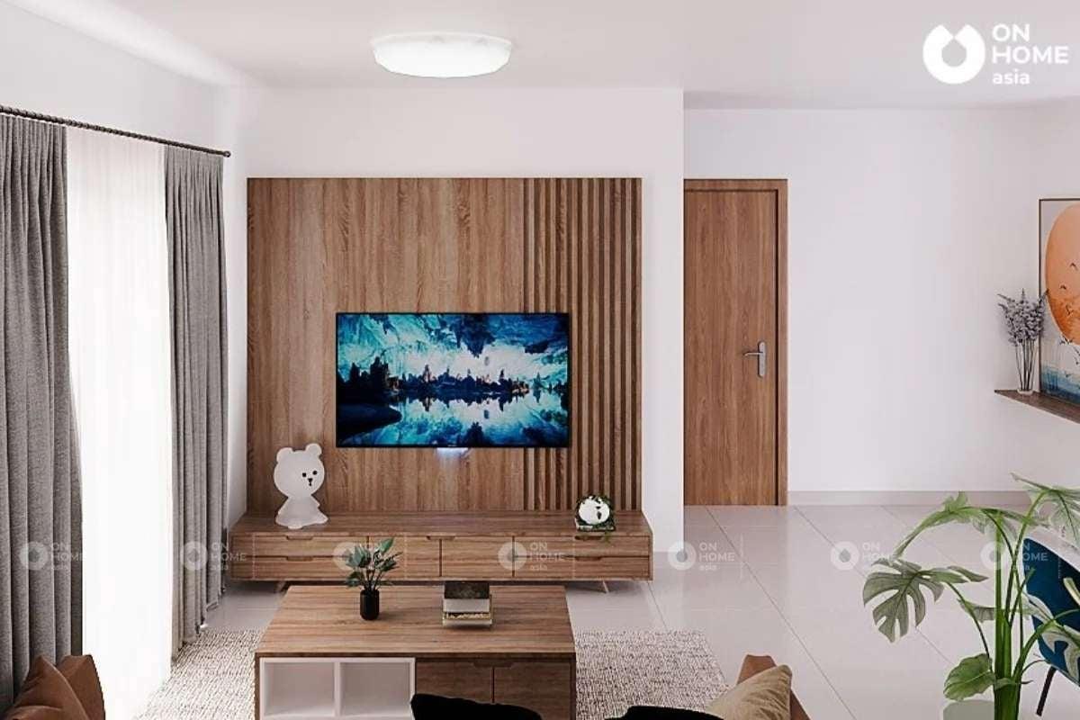 Kệ tivi với chất liệu gỗ ấm cúng