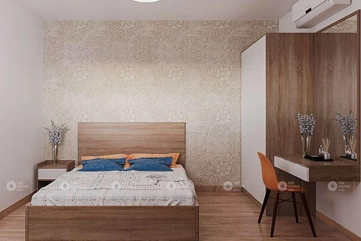Phòng ngủ master với chất liệu gỗ tinh tế và ấm cúng