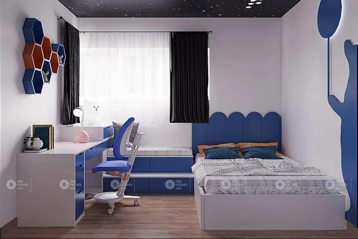 Thiết kế phòng ngủ bé trai với màu xanh sinh động