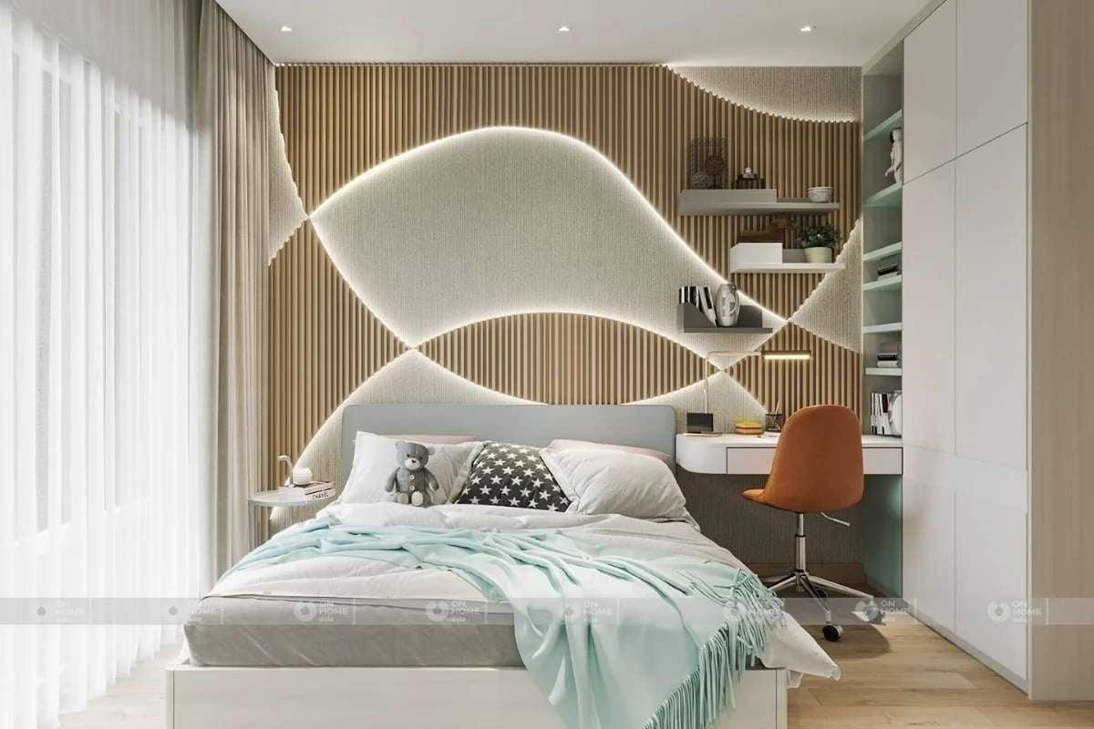 Phòng ngủ trẻ em với các chi tiết nhẹ nhàng và đơn giản