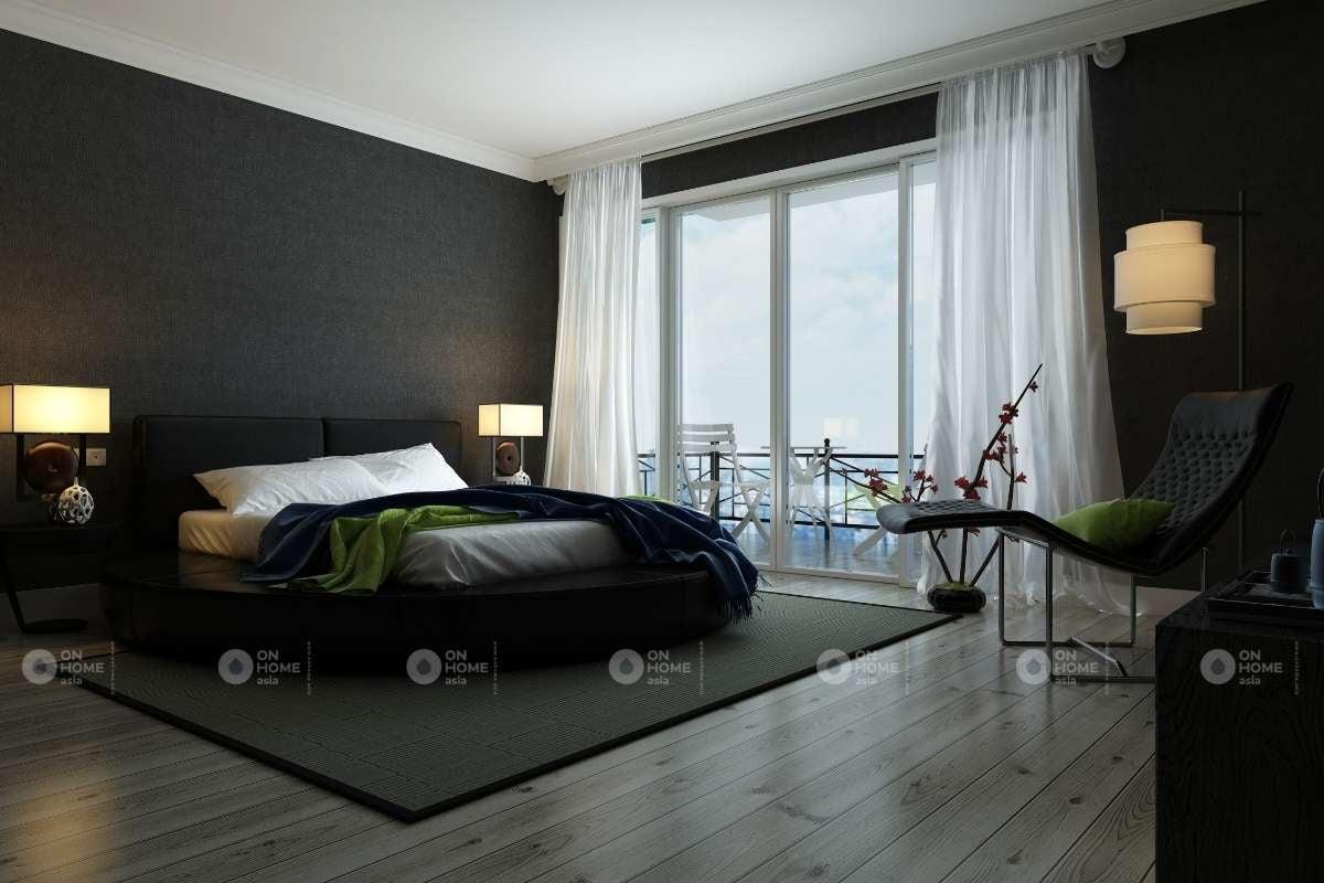 Không gian phòng ngủ màu trắng đen